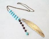 Last One Left - Huge Retro Leaf - Beautiful Handmade Vintage Inspired Purple Blue Turquoise Bead Brass Charm Pendant Long Necklace