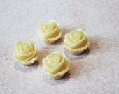 Last One Left - DIY 4 Pieces White Ivory Rose - Huge Flower Color Charm Cameo Cabochon Supply Supplies