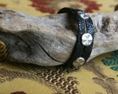 Studded Black Leather Bracelet