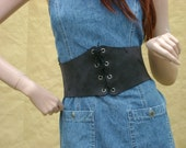 "Custom made Grey suede leather corset cinch belt pirate wench Renaissance style 27""-30"""