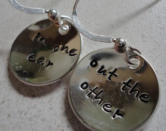 In one ear ... out the other -- handstamped sterling silver EARRINGS