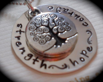 Strength Hope Courage - Tree of life  -- handstamped sterling silver necklace