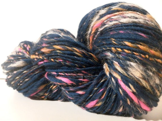 SALE Splash - Handspun Merino wool Bamboo Viscose ArtYarn - 167 yards- Buy 3 and get FREE SHIPPING