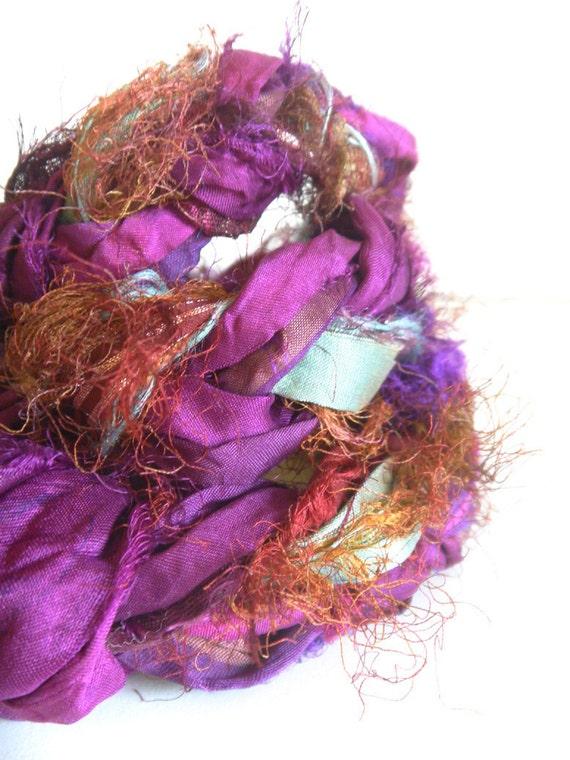 Fall Sale - Recycled Sari Silk Ribbon Variety - 22 grams - Buy 3 and get FREE SHIPPING