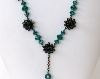 SALE - Vintage Waterlily Necklace - bronze, crystal, teal, flowers, waterlily, necklace, handmade