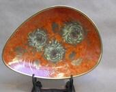 Vintage  Orange Alka Kunst Bowl with Chrysanthemums Patricia Pattern