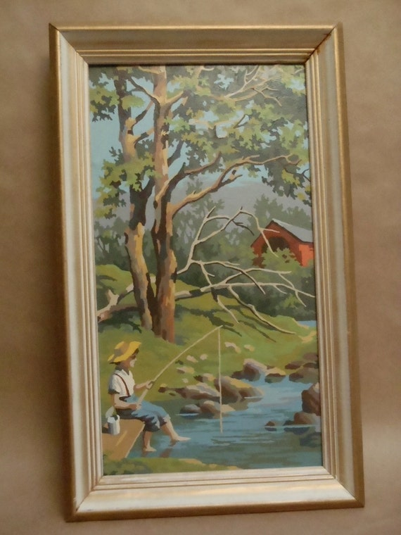 Framed Paint by Number Boy Fishing