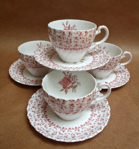 Set of Four Johnson Brothers Rose Bouquet Pink Teacups and Saucers