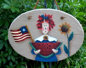 Americana Raggedy Ann Sign Plaque with Watermelon and Sunflower Hand Painted