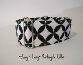 2 inch Black and White Martingale Collar, Greyhound Martingale Collar, Ebony and Ivory Martingale Collar