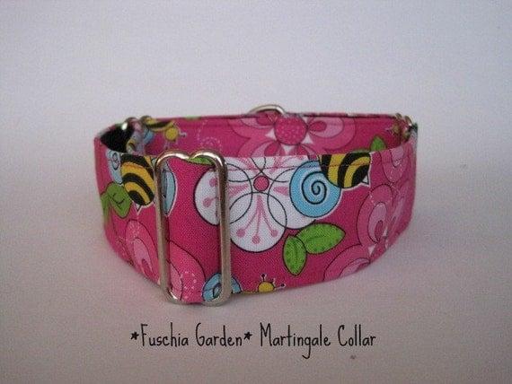 Pink Martingale Collar, Greyhound Martingale Collar, 2 inch Martingale Collar, Floral, Fuchsia, Bumble Bee, Greyhound, Pink Dog Collar