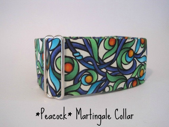 2 inch Peacock Martingale Collar, Peacock, Dog Collar, Turquoise, Royal Blue, Greyhound Martingale, Adjustable
