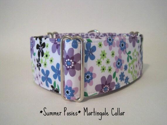 1.5 inch Martingale Collar, Purple, Floral, Greyhound Collar, Dog Collar, Greyhound Martingale, Boxing Day