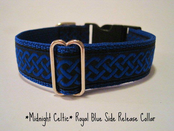 1 inch Dog Collar, Blue, Green, Red, Celtic Knot, Jacquard, Side Release, Dog Collar, Quick Release, Custom Dog Collar