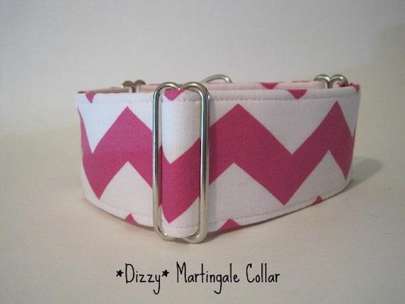 Pink Chevron Martingale Collar, 2 inch Martingale Collar, Chevron Dog Collar, Hot Pink Martingale Collar, Martingale Dog Collar
