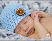 Baby Blue Baby Hat with  Natural Wood Button  Photo Prop Newborn Ready to Ship