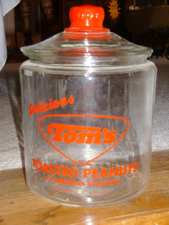 Vintage Tom's peanut first red jar with lid