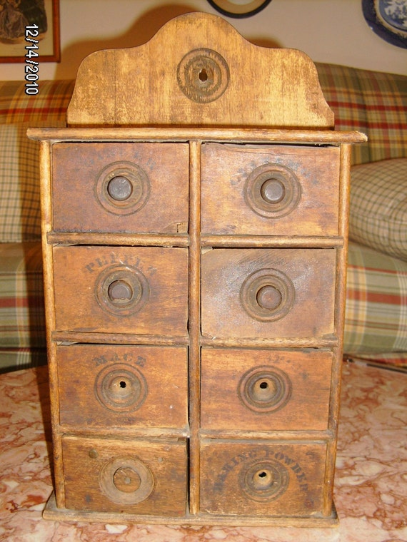 Antique Wood Spice Rack Cabinet Wall Mount 8 Drawers