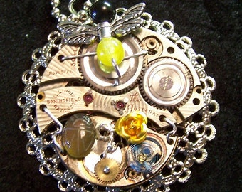 Steampunk Filigree Golden Watchworks Bee Pendant