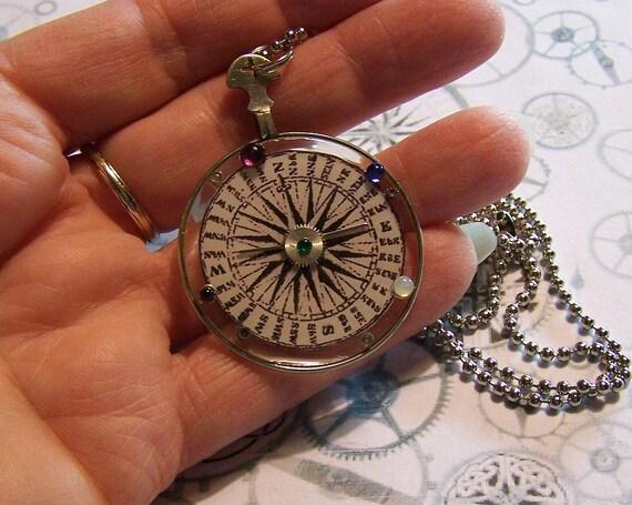 Compass Monocle Pendant - Steampunk Necklace