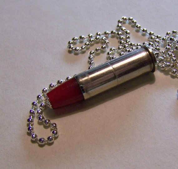 Red and Silver Bullet Jewelry Pendant