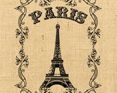 Tour Eiffel vintage romantic large image paris france europe transfer gift tag label napkins burlap pillow original large image Sheet n.126