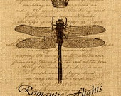 Romantic Flights    dragonfly insect crown vintage large image paris royal ephemera gift tag label napkins burlap pillow Sheet n.762