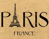 Paris and France  eiffel burlap romantic large words original download gift tag label print fabric transfer napkins pillow Sheet n.782