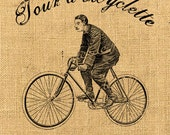 Tour a Bicyclette  large image printable art ephemera gift tag burlap label napkins burlap fabric pillow Sheet n.198