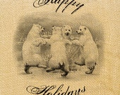 North Pole    bear victorian illustration gifts noel new year print iron transfer fabric tag burlap label napkins pillow Sheet n.153