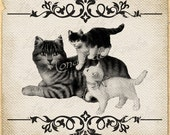 Mummy    pets cat baby  animal burlap large image vintage print transfer label napkins pillow Sheet n.138