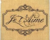 Je t'Aime   france I love you europe romantic word print on iron transfer fabric gift tag burlap label napkins pillow Sheet n.207