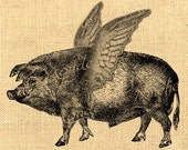 Flying Pig -  fantasy animals ads nature large image fabric download original gift tag label napkins burlap pillow Sheet n.791