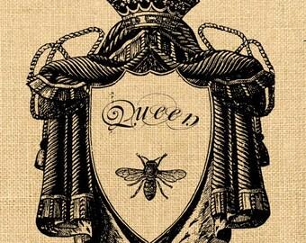 Bee Queen vintage romantic large image paris france crown royal on iron transfer fabric napkins burlap pillow Sheet n.156