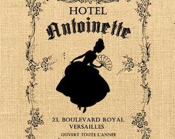 Hotel Antoinette  hotel advertising burlap france paris royal silhouette romantic original gift tag label napkins pillow Sheet n.412