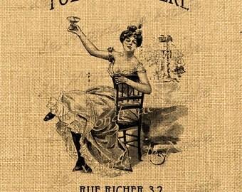 Folie Bergere   music hall paris france belle epoque romantic europe print gift tag label napkins burlap pillow  large image Sheet n.427
