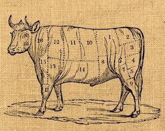 The Cow  animal farm butcher's shop burlap large image vintage ephemera print transfer france label napkins burlap pillow Sheet n.783