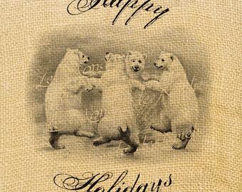 North Pole    bear victorian illustration gifts noel new year print iron transfer fabric tag burlap label napkins pillow Sheet n.153