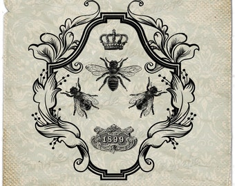 VIntage Bee     paris france fleur de lys crown paris royal ephemera gift tag label napkins burlap pillow Sheet n.785