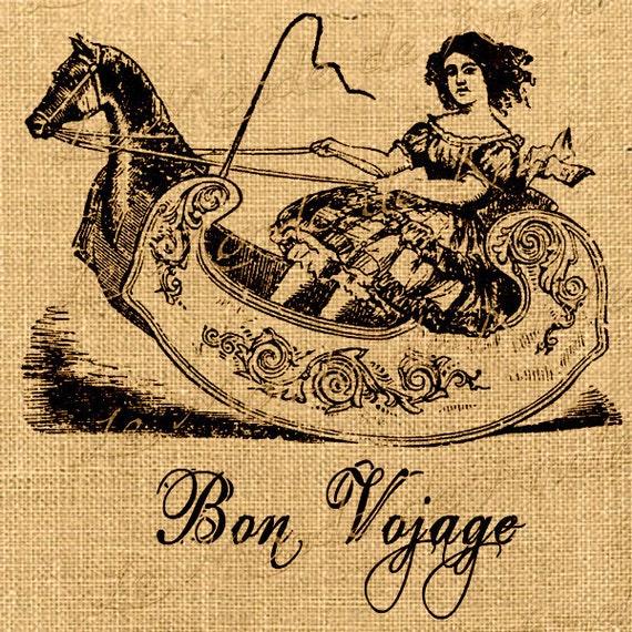 Bon Vojage horse children baby toy romantic large image vintage print on iron transfer gift tag label napkins burlap pillow Sheet n.128