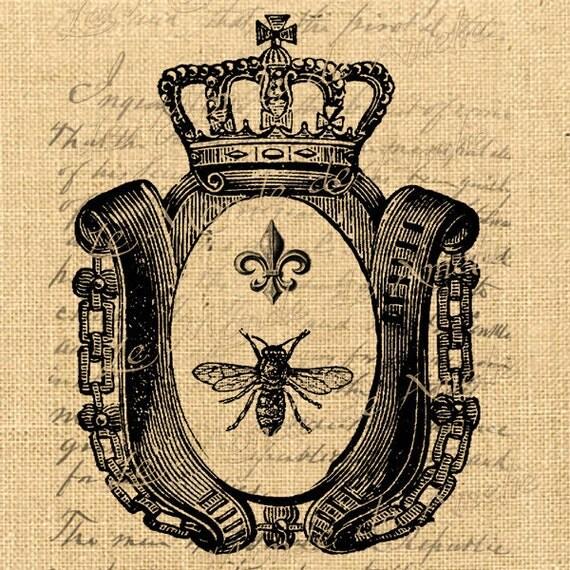 Paris digital download Royal bee France Fleur de lys Crown Vintage Antoinette graphic art ephemera For tag label napkins burlap pillow n742