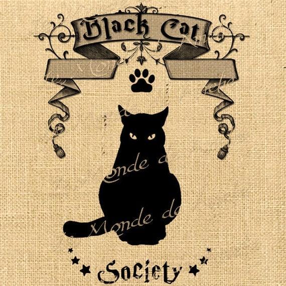 Black Cat   halloween moon witch fly society graphic art ephemera print on iron transfer gift tag label napkins burlap pillow Sheet n.751