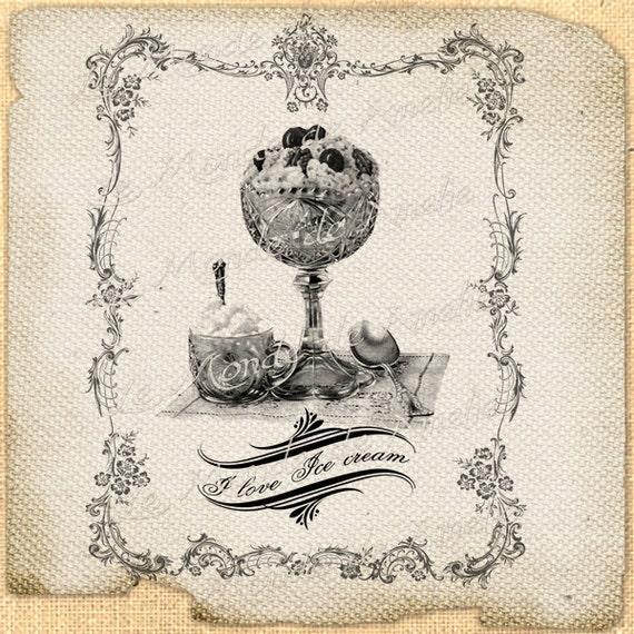 Ice Cream    sweet cake muffin food recipes parties favors ephemera gift label napkins burlap pillow large image Sheet n.703