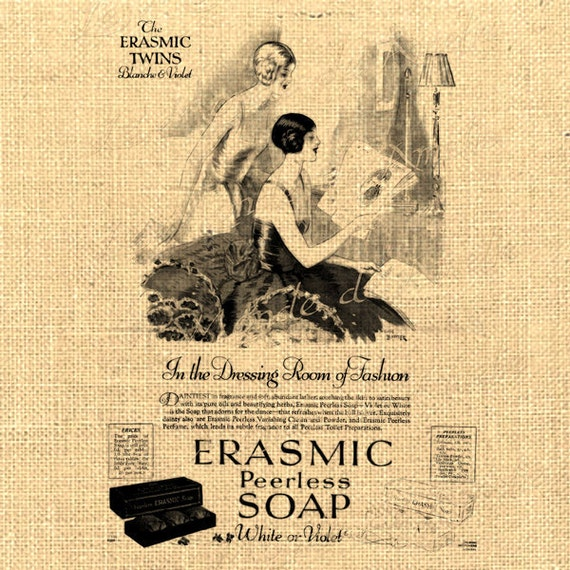Erasmic   vintage woman soap wash beauty advertising ads graphic art transfer gift tag label napkins burlap pillow Sheet n.796