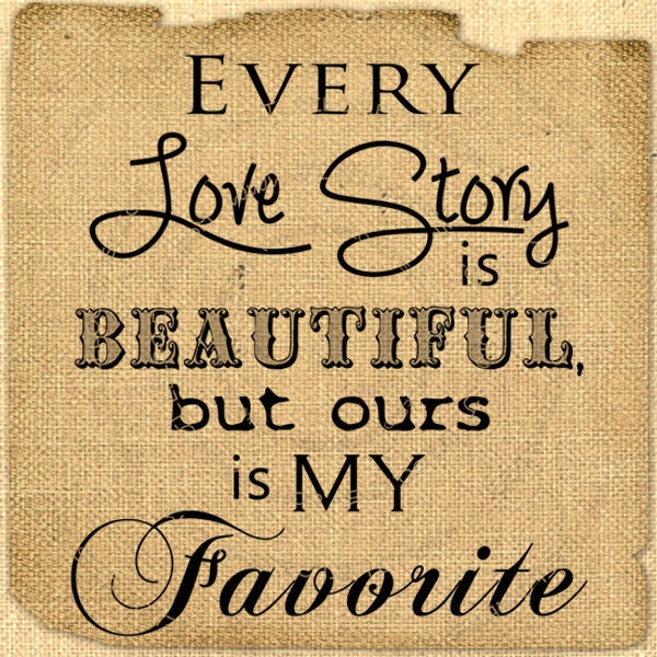 Digital Love Story Quote Romantic Love Words Collage Sheet