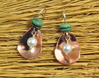 Pearl In The Oyster earrings - Cultured Freshwater Pearls, Sterling silver wire, copper, turquoise.