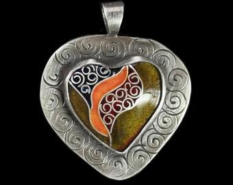 Cloisonne Enamel Spiral-Bound Heart Pendant