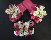 Hot Pink and Green Zebra Print Ribbon Flip Flops and Boutique Hair Bow