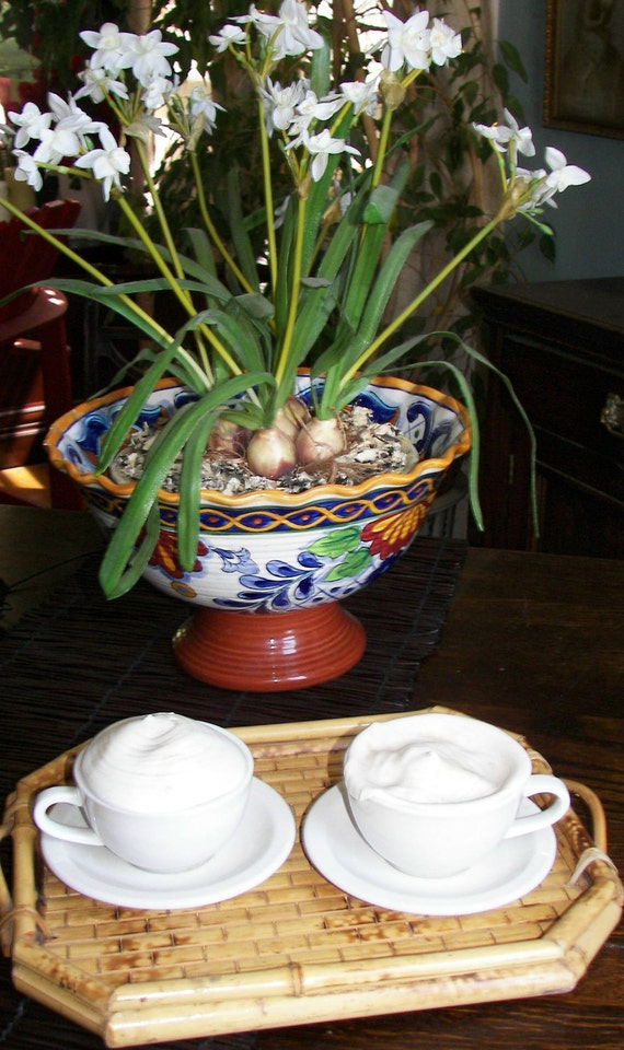 Realistic Fake Cappuccino coffees,One pair in china cups & saucers, Theatre, Staging