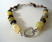 Stone & Leather Bracelet / Natural Turquoise Bracelet / Wood Opal / American Mined Gemstone / Heart and Stone Bracelet